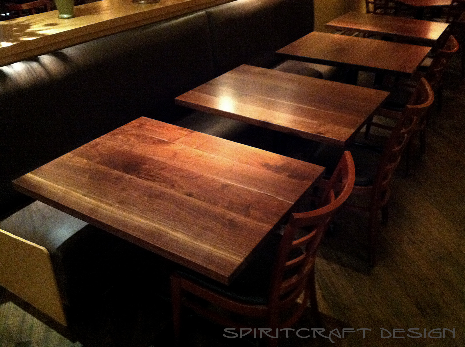 Custom Made Solid Wood Black Walnut Table Tops At Chicago Restaurant From Spiritcraft Design Furniture In