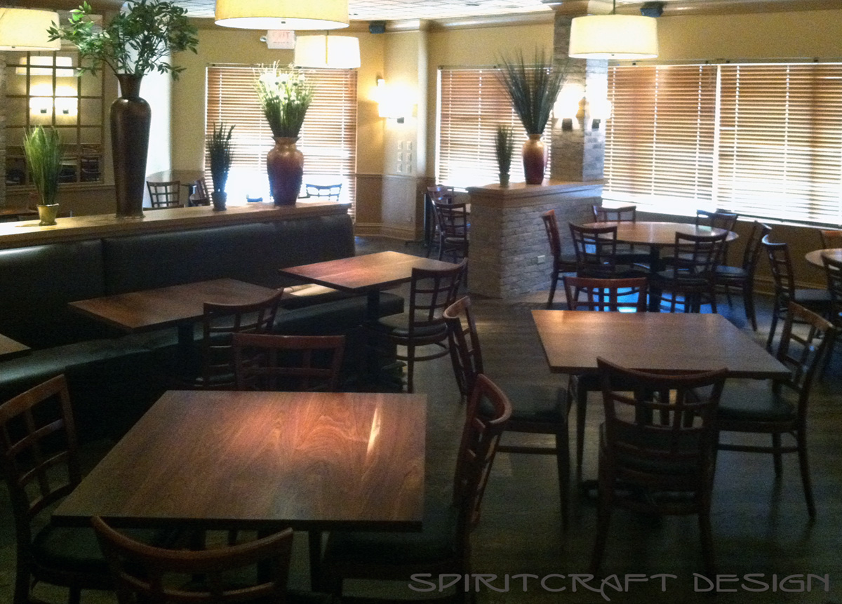 Custom made Walnut restaurant table tops for dining tables in Chicago Cafe, Bistro, Bar.