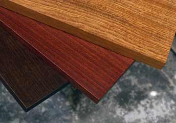 Custom made solid hardwood stained Sapele table tops in kona, chris craft and natural for woodworkers, DIY, restaurant and commercial clients from Great Spirit Hardwoods in East Dundee,Illinois