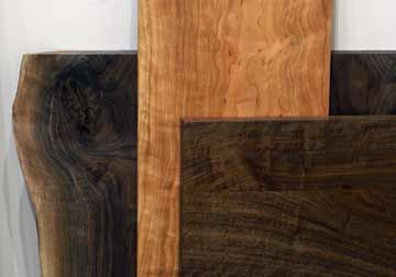 Custom made table tops in Walnut and Cherry, Live Edge or Rectangular in any size or hardwood from Great Spirit Hardwoods, East Dundee, IL.