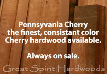 The finest Pennsylvania Cherry hardwood at the best pricing in Chicago suburbs from Great Spirit Hardwoods in East Dundee, IL