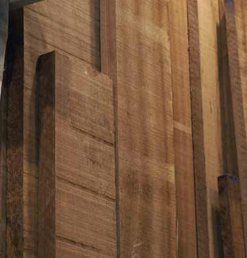 Solid select or better ribbonstripe Sapele rough lumber in 4/4, 8/4 and 6/4 at Chicago area wood store, Great Spirit Hardwoods in East Dundee, Illinois