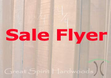Sale Pricing on our select hardwood lumber and boards in Chicago suburbs from Great Spirit Hardwoods in East Dundee, IL
