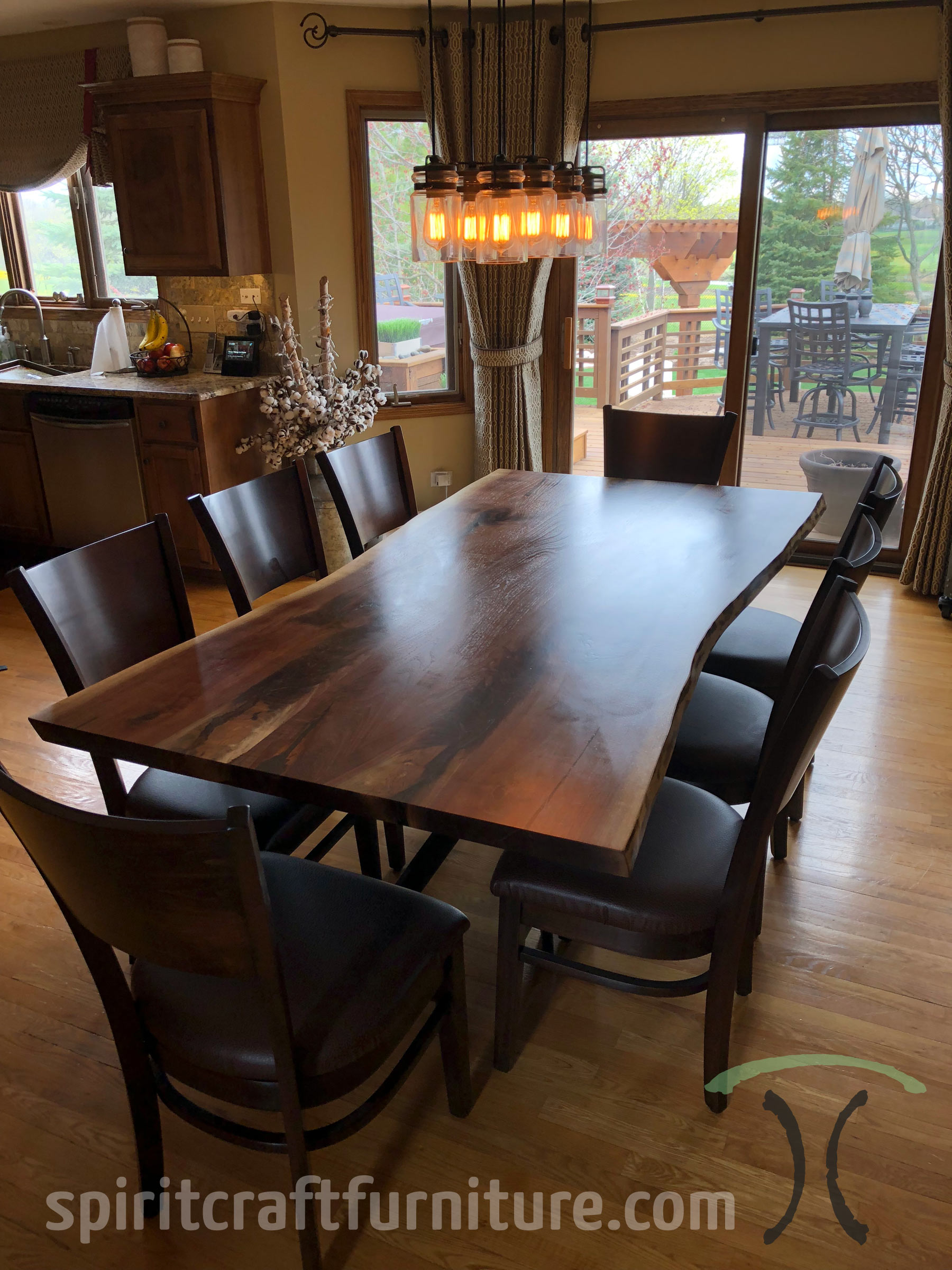 Wood Table Black Chairs