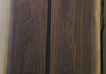 Black Walnut solid hardwood live edge slabs for transitional and modern interior decor as artwork by spiritcraft furniture and great spirit hardwoods in east dundee, il