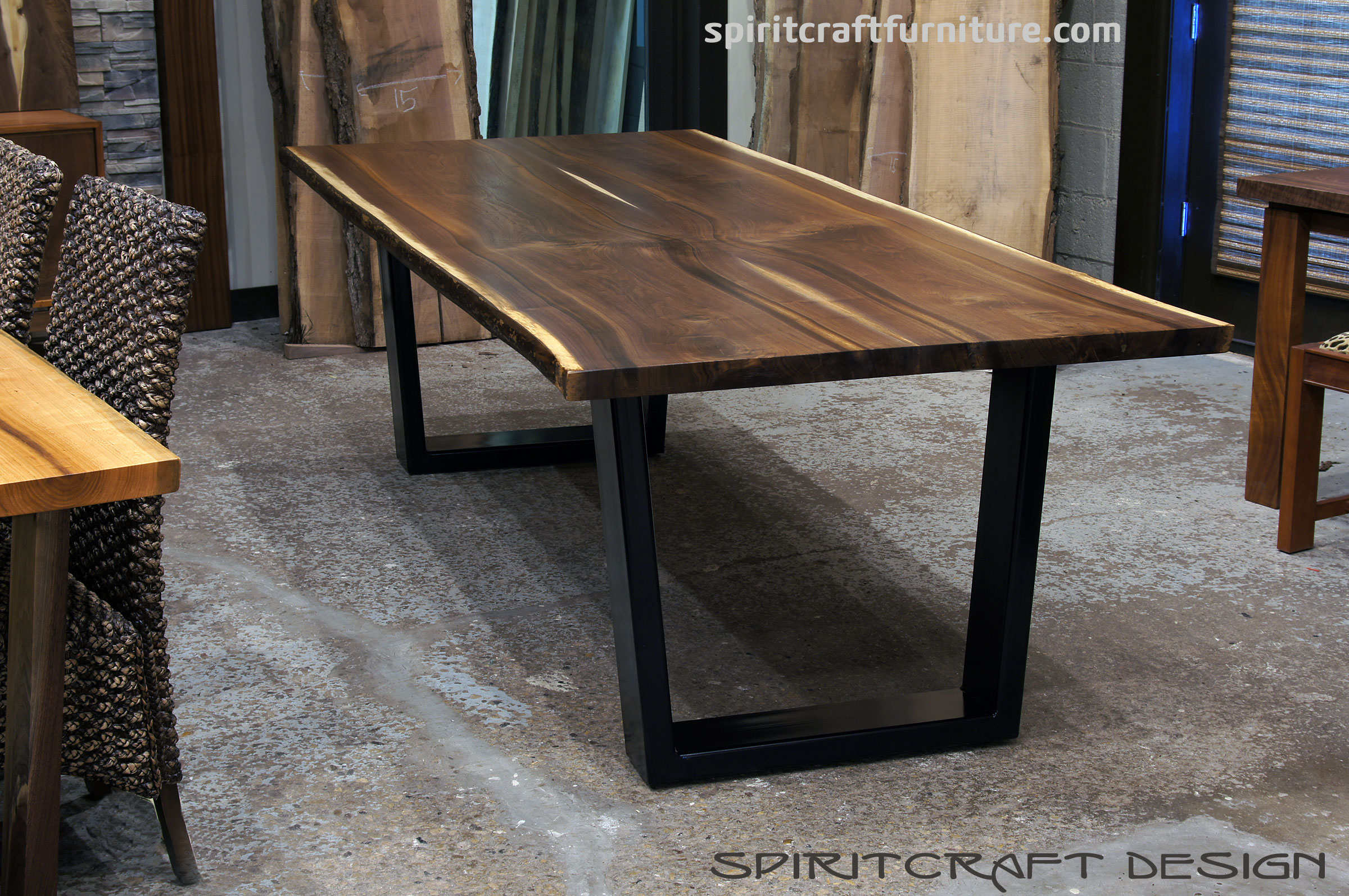 Custom solid hardwood table tops live edge slabs : live edge slab black walnut dining table with black trapezoid legs for chicago illinois area client by spiritcraft furniture dundee from www.greatspirithardwoods.com size 2400 x 1595 jpeg 927kB