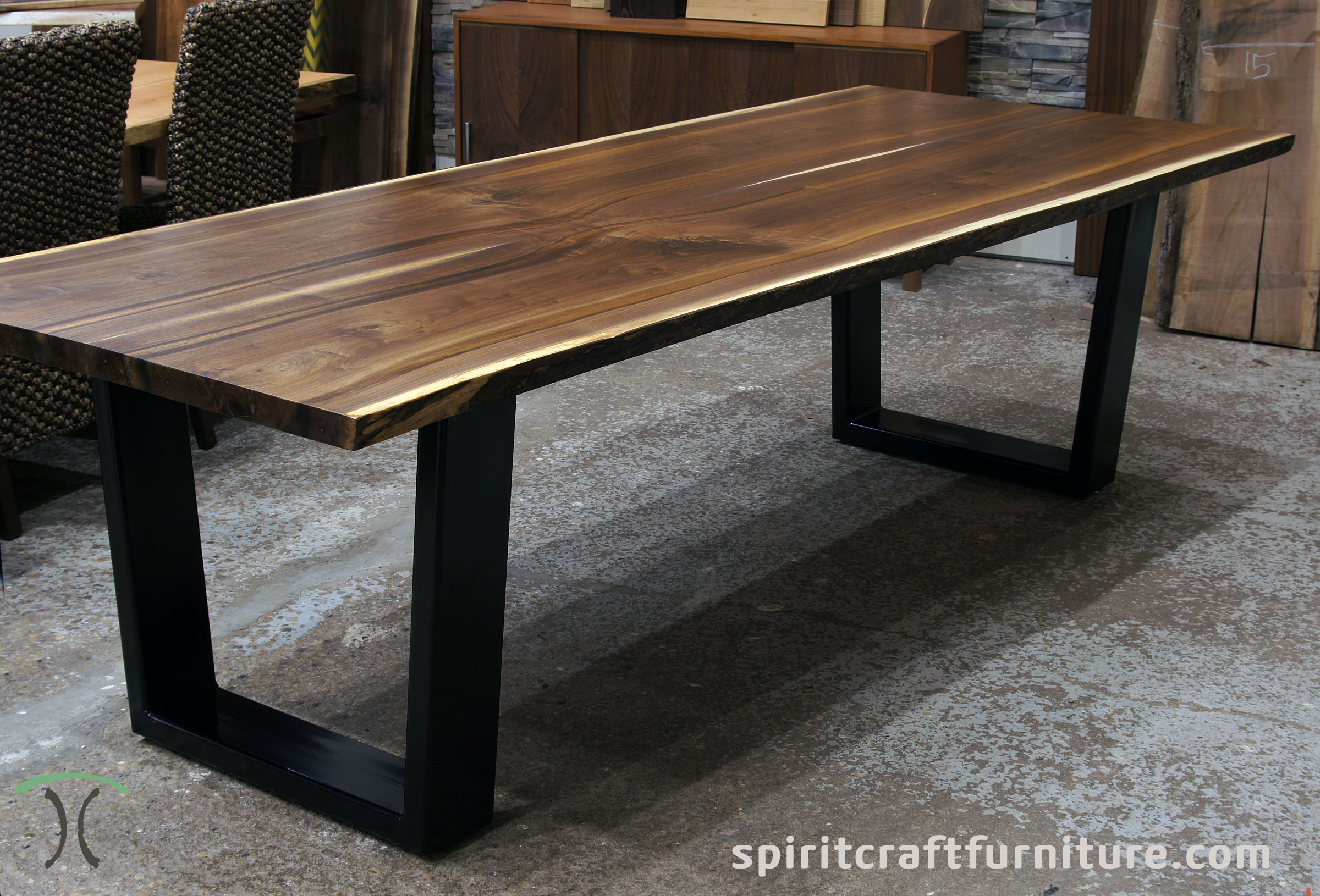 Live Edge Walnut Dining Table In Solid Book Matched Slabs With Black Steel  Trapezoid Legs In