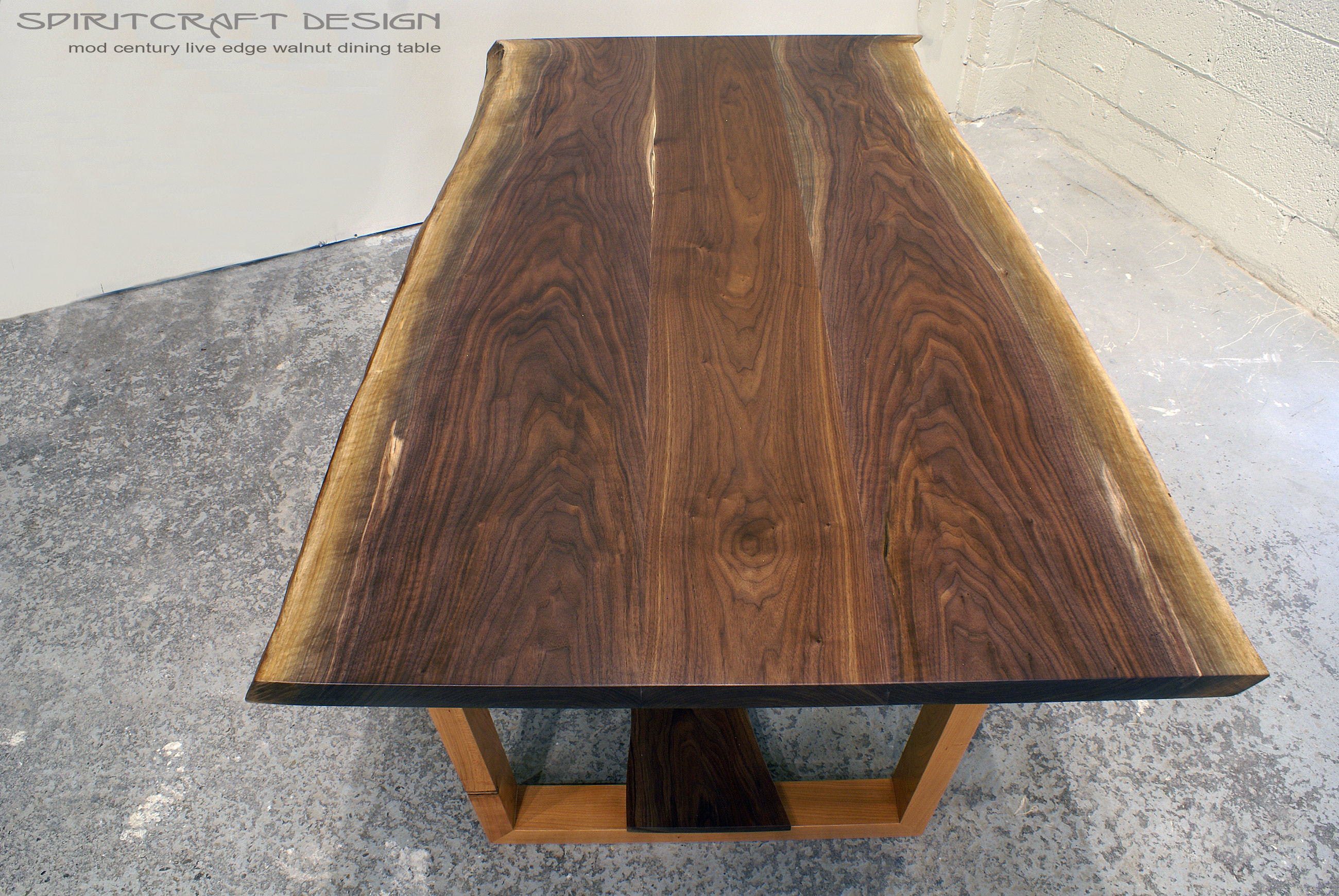 Live Edge Walnut Dining Table In Our Original Mid Century Leg Design.  Features Book