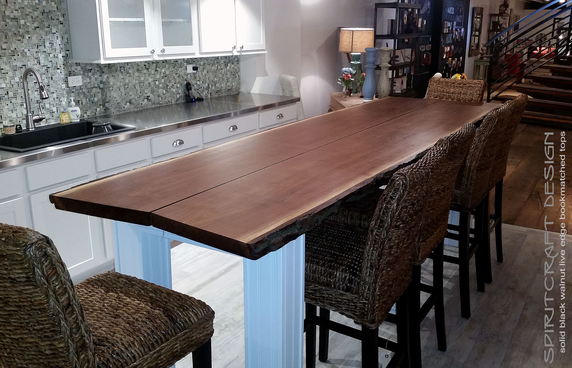 Large Live Edge Dining Table In Solid Black Walnut On Custom Base And Legs Displayed