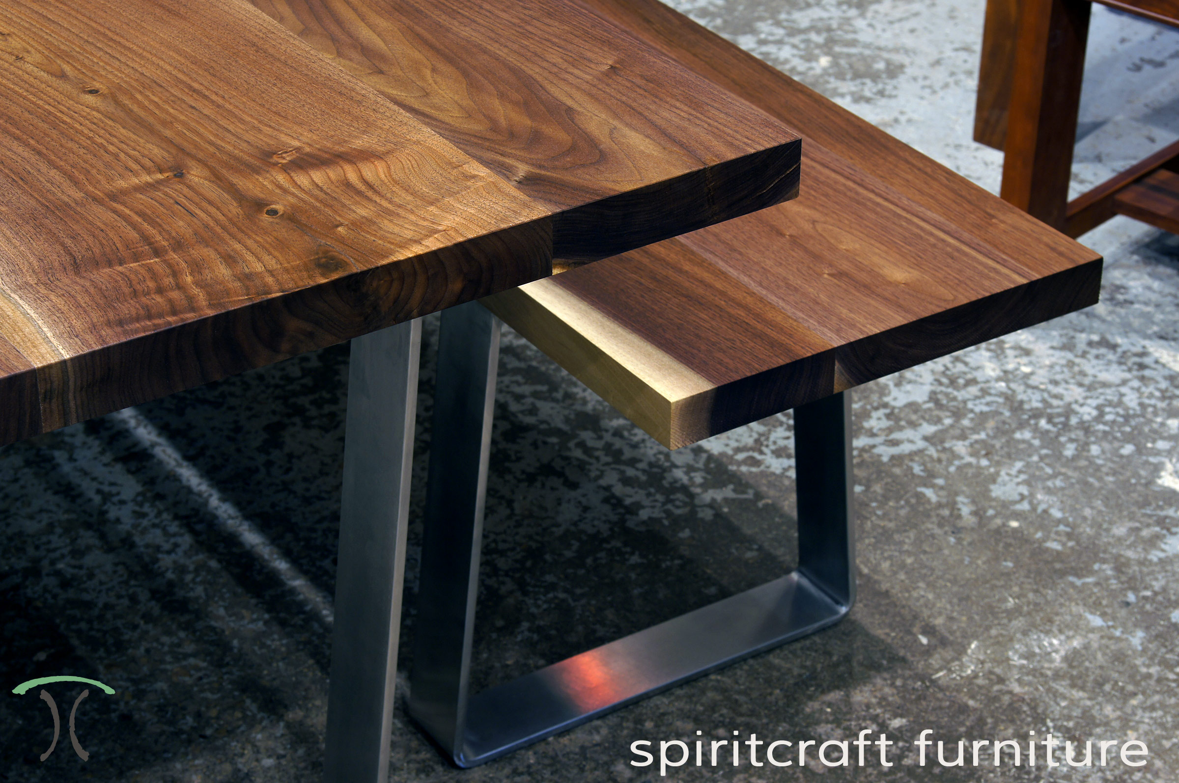 Solid Hardwood Dining Table And Bench From Slabs Of Kiln Dried Black Walnut  With Mid Century