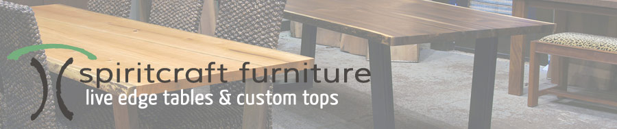 SpiritcraftFurniture.com, Hardwood Slab and Custom Table Tops and Live Edge Tables at our Chicago area furniture gallery and showroom in East Dundee, Illinois.